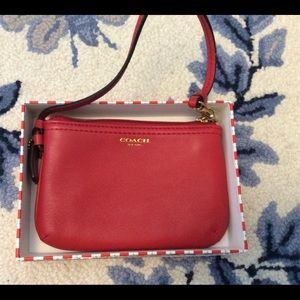 Authentic Coach Red Leather Wristlet